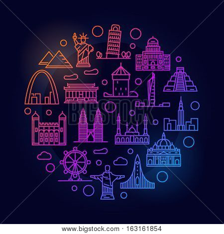 Landmarks colorful illustration. Vector bright linear tourism and travel concept sign on dark background