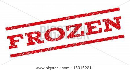 Frozen watermark stamp. Text tag between parallel lines with grunge design style. Rubber seal stamp with scratched texture. Vector red color ink imprint on a white background.