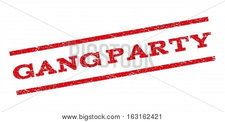 Gang Party watermark stamp. Text tag between parallel lines with grunge design style. Rubber seal stamp with scratched texture. Vector red color ink imprint on a white background.