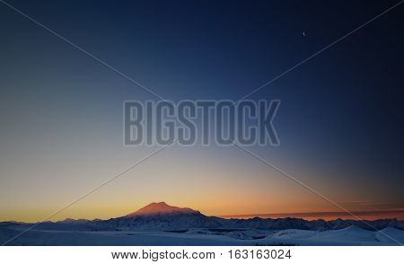 Panoramic view of mt. Elbrus Caucasus Mountains, Russia; copy space