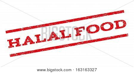 Halal Food watermark stamp. Text tag between parallel lines with grunge design style. Rubber seal stamp with dirty texture. Vector red color ink imprint on a white background.