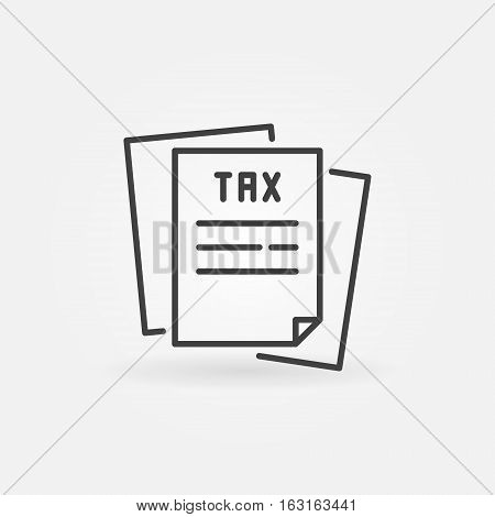 Tax line icon. Vector paper tax form concept symbol or logo element