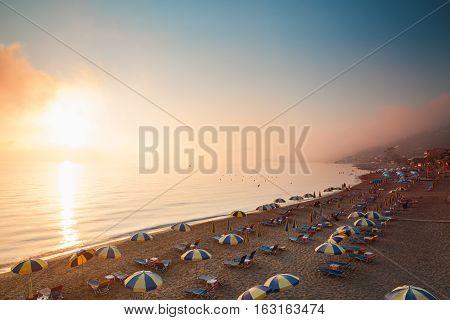 Beach In Agios Gordios Of Corfu, Greece