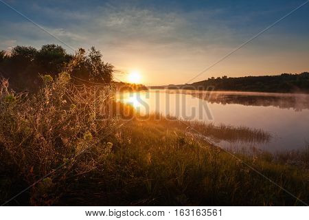 Sunrise Landscape With Foggy River