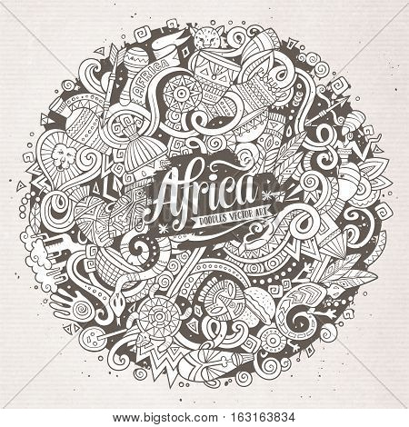 Cartoon cute doodles hand drawn Africa illustration. Line art detailed, with lots of objects background. Funny vector artwork. Contour picture with african theme items