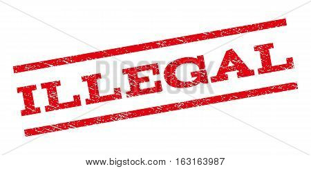 Illegal watermark stamp. Text tag between parallel lines with grunge design style. Rubber seal stamp with unclean texture. Vector red color ink imprint on a white background.