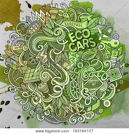 Cartoon cute doodles hand drawn Electric cars illustration. Line art detailed, with lots of objects background. Funny vector artwork. Watercolor picture with eco vehicles theme items