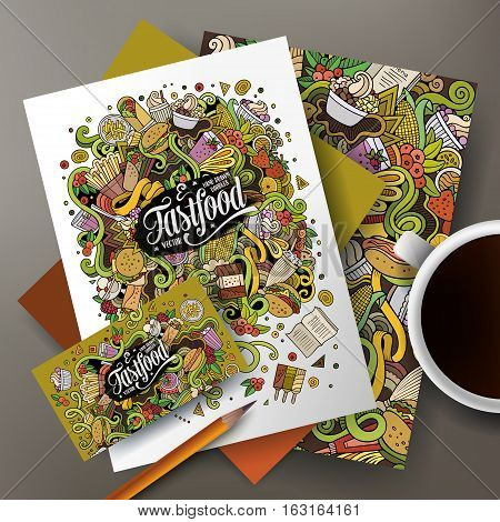 Cartoon cute vector hand drawn doodles Fastfood corporate identity set. Templates design of business card, flyers, posters, papers on the table