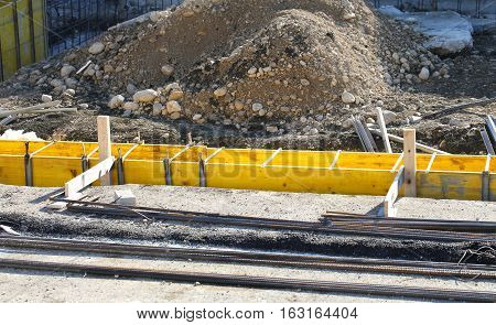 Building Material During The Construction Of The Perimeter Walls