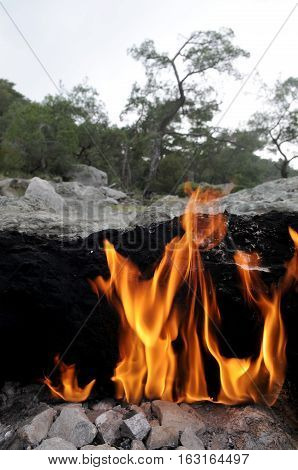 Flaming rock (Yanartas ) in Antalya Turkey is generally believed to be the ancient Mount Chimera. The wonder-fires have been burning for at least 2500 years.