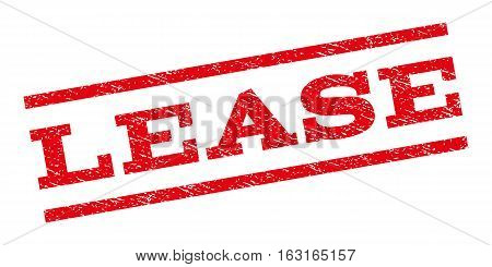 Lease watermark stamp. Text tag between parallel lines with grunge design style. Rubber seal stamp with dust texture. Vector red color ink imprint on a white background.