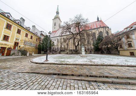 BRATISLAVA SLOVAKIA - DECEMBER 19: St. Martin's Cathedral on December 19 2016 in Bratislava