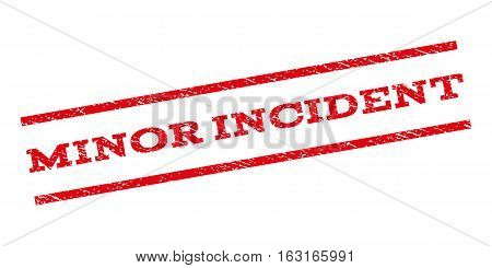 Minor Incident watermark stamp. Text tag between parallel lines with grunge design style. Rubber seal stamp with unclean texture. Vector red color ink imprint on a white background.