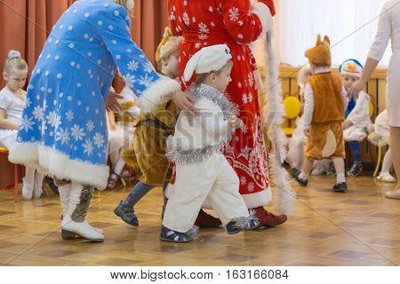 Gomel Belarus - DECEMBER 22 2016: New Year's holiday for children in kindergarten. Children 3 - 4 years.