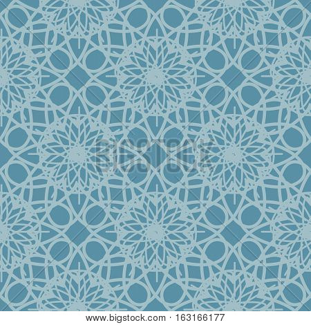 Cold blue seamless pattern reminiscent of frozen glass. Abstract ornament geometric background. Vector web design pattern