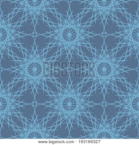 Desaturated blue lace snowflakes seamless pattern. Intricate winter ornament for website backgrounds. Vector