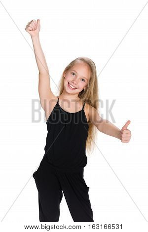 Preteen Girl  Holds Her Thumbs Up