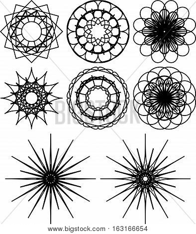 Set of eight spirograph shapes. Black and white outline. Flowers and snowflakes. Web design elements isolated on white background. Can be used as coloring pages. Vector
