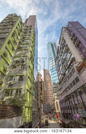 Hong Kong, China - December 4, 2016: aerial view of Lyndhurst Terrace in Soho district within the system of the Central-Mid-levels escalator, the longest outdoor covered escalator system in the world.