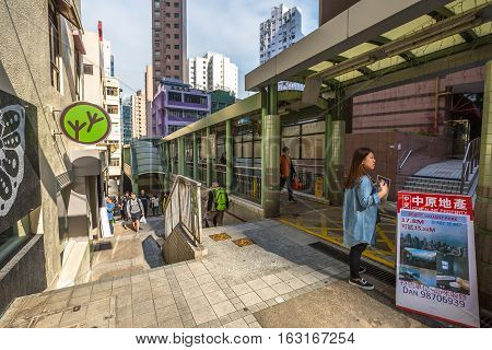 Hong Kong, China - December 4, 2016: Central-Mid-levels escalator in Shelley Street in Soho district, is a system of escalators and walkways connecting Central to Western.