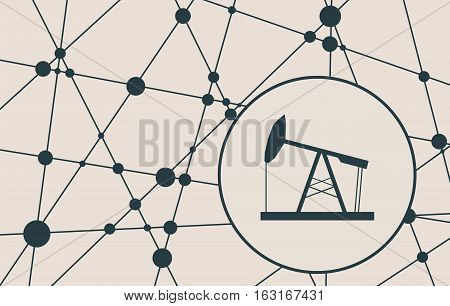 Oil derrick cut out icon. Vector brochure or report design template. Connected lines with dots. Energy and power relative background