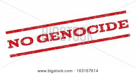 No Genocide watermark stamp. Text tag between parallel lines with grunge design style. Rubber seal stamp with unclean texture. Vector red color ink imprint on a white background.