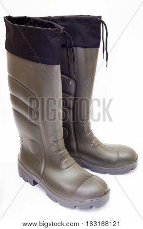 a pair of Khaki Wellington Boots on white background