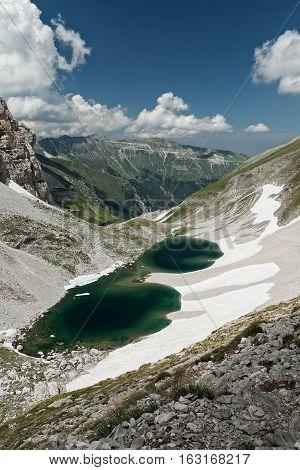 Pilato lake viewed from Sella delle Ciaule between Mount Vettore and Cima del Redentore