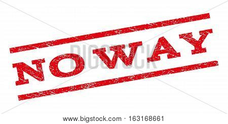 No Way watermark stamp. Text tag between parallel lines with grunge design style. Rubber seal stamp with dirty texture. Vector red color ink imprint on a white background.