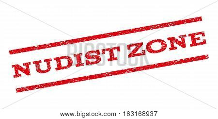 Nudist Zone watermark stamp. Text tag between parallel lines with grunge design style. Rubber seal stamp with unclean texture. Vector red color ink imprint on a white background.