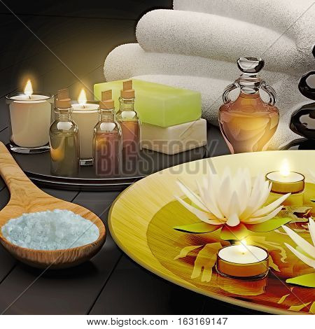 Spa still life with burning candles and lily flowers on blak background. 3D illustration