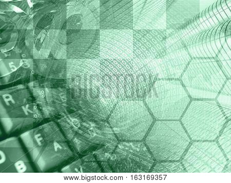 Computer background in greens with digits buildings and map.