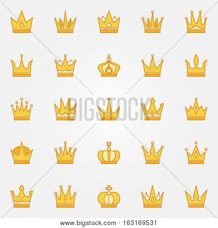 Crown yellow icons. Vector collection of colorful crowns. Creative symbols or logo elements