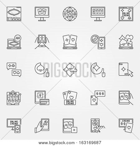 Online casino icon. Vector set of online poker and mobile casino concept symbols in thin line style