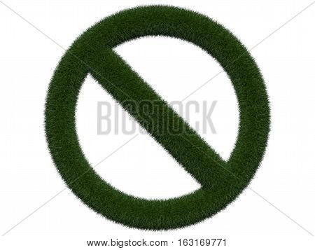 Grassy prohibition sign on white background. Isolated digital illustration. 3d rendering