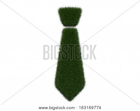 Grassy tie on white background. Isolated digital illustration. 3d rendering