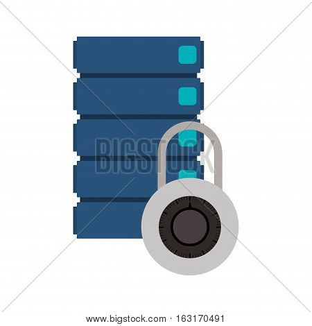 Web hosting and padlock icon. Data center base and security theme. Isolated design. Vector illustration