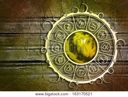 Astrological symbols in the circle. Abstract planet in the center of ornate. Concrete wall textured
