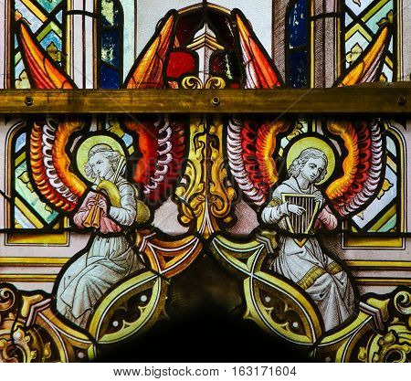Stained Glass - Angels With Bagpipe And Harp