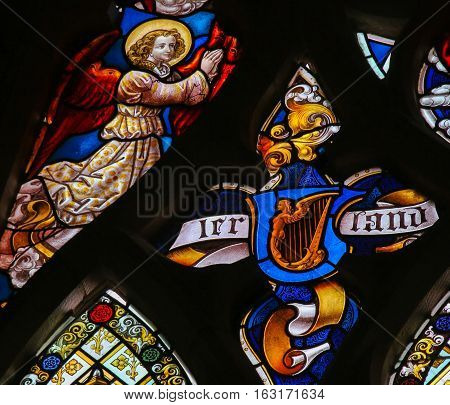 Stained Glass - Celtic Harp