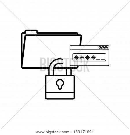 Padlock and password icon. Security system warning and protection theme. Isolated design. Vector illustration