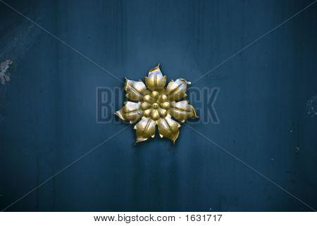 Flower Ornament On A Metal Door