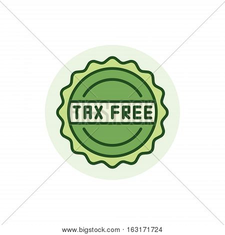 Tax free colorful icon - vector green tax concept badge or logo element