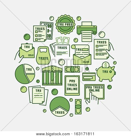 Tax payment round illustration. Vector colorful pay taxes circular symbol made with green flat tax icons
