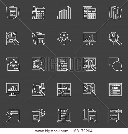 Financial audit line icons. Vector collection of analysis and auditing linear concept symbols on dark background