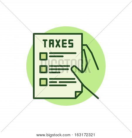 Hand holding tax form green icon. Vector colorful taxation concept sign or logo element