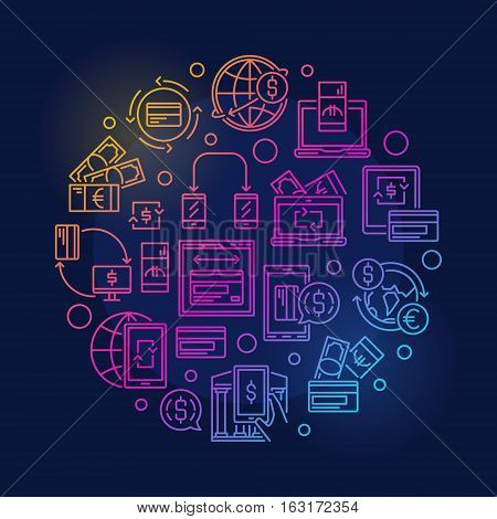 Money transfer round colorful illustration. Vector bright sending and receiving money concept sign on dark background