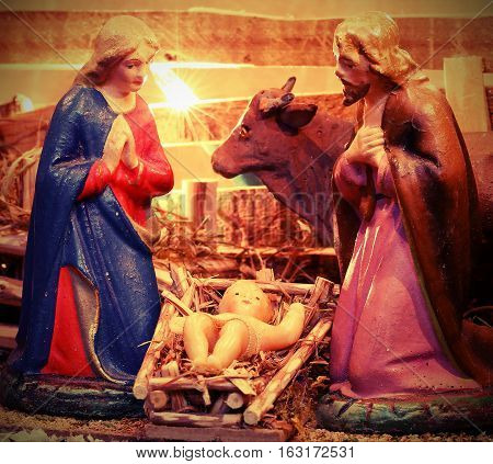 Ancient Statues Of Mary And Saint Joseph With Baby Jesus In The