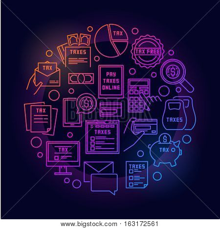 Pay tax concept colorful illustration - vector bright circular linear symbol made with taxes icons on dark background