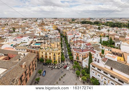 Aerial view of Sevilla Spain taken from Giralda tower